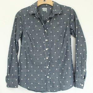 J Crew Chambray Shirt XXS women polka dots